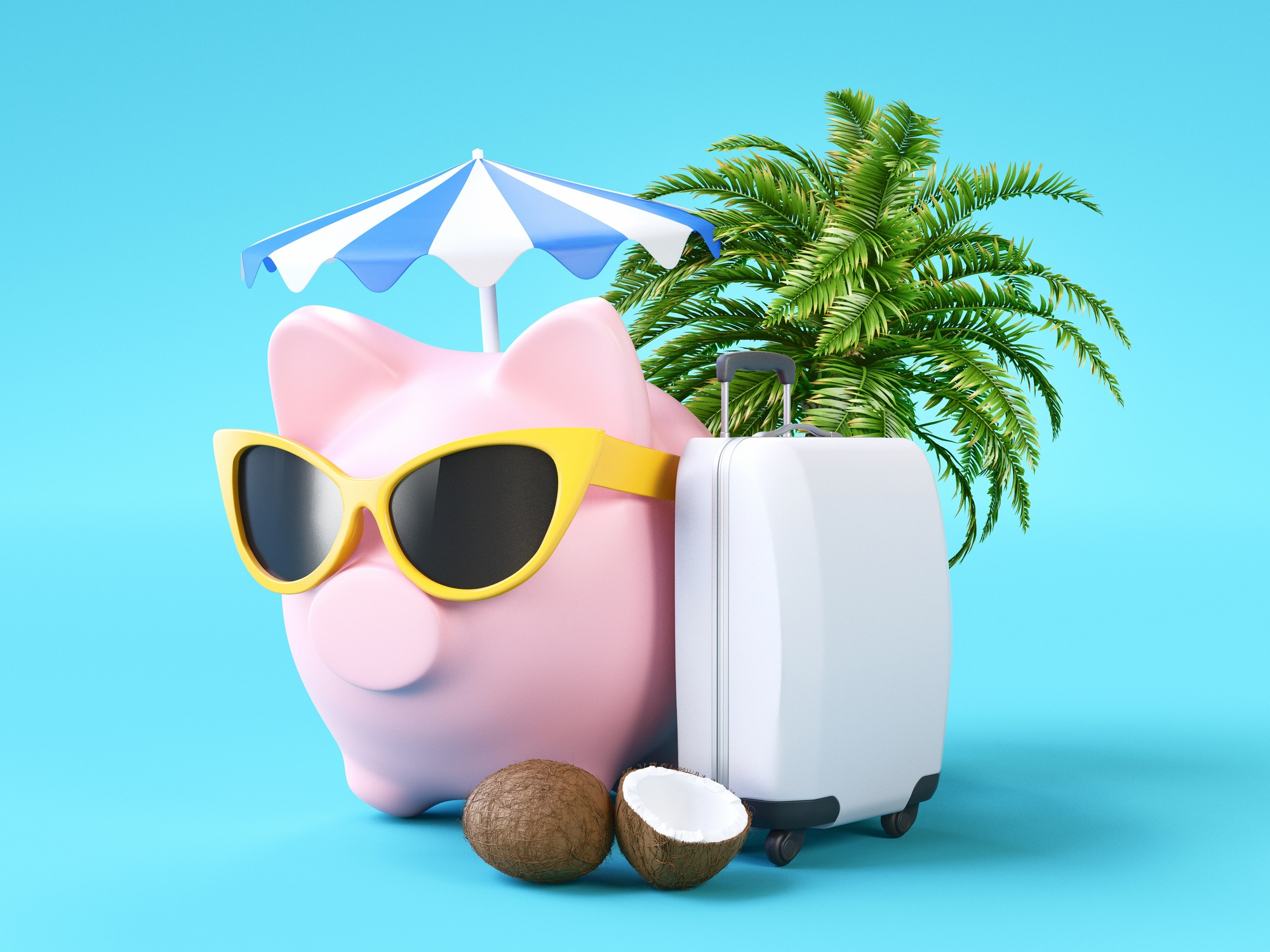 piggy bank with trip accessories